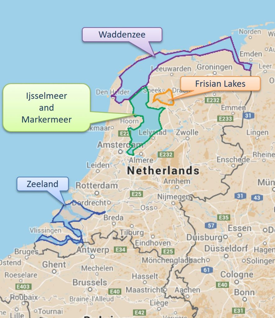 Sailing areas in The Netherlands
